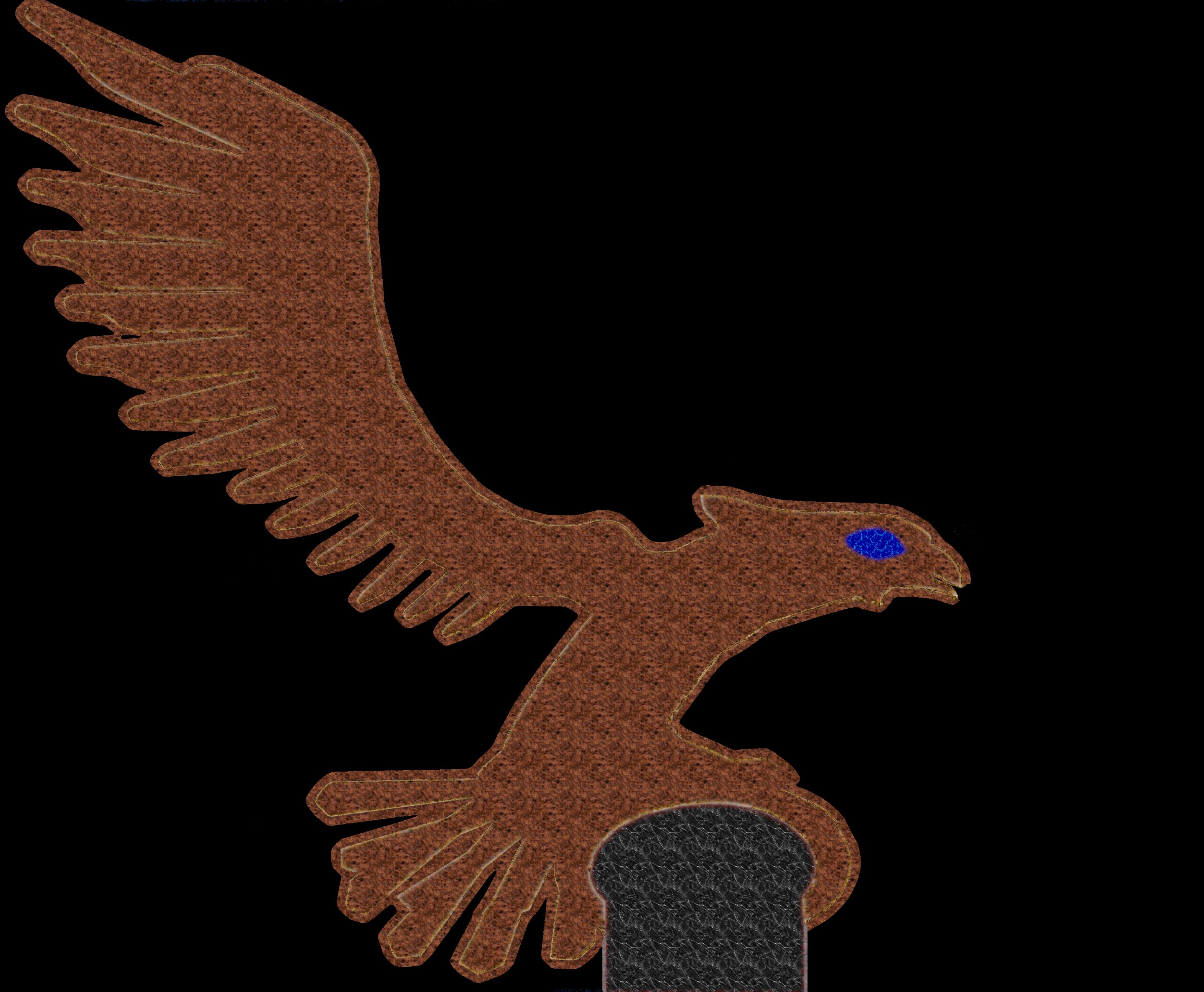 Adler rotig auf Stein rechts